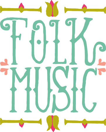 bordure florale: Folk word with a floral border for music fans.