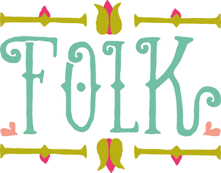 Folk word with a floral border for music fans.