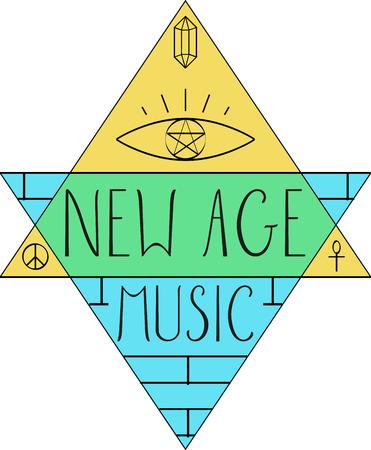 new age: Nuevas palabras Edad y s�mbolos para aficionados a la m�sica. Vectores