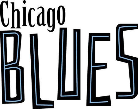 Blues word for Chicago music fans. 向量圖像