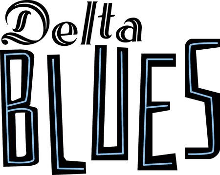 デルタ音楽ファンのためのブルースの言葉。  イラスト・ベクター素材