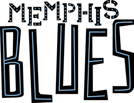 Blues word for Memphis music fans. 向量圖像