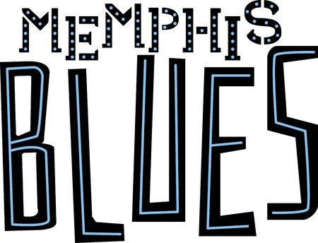 blues: Blues word for Memphis music fans. Illustration