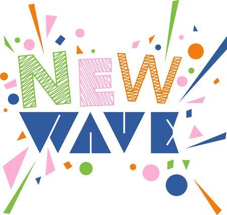 음악 팬들을위한 새로운 웨이브 단어 및 색종이.