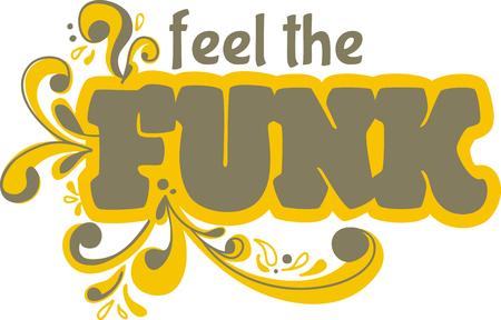 Funk word with scrolls for music fans. Illusztráció