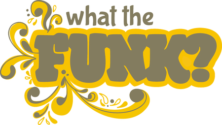 embellishments: Funk word with scrolls for music fans. Illustration