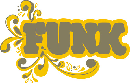 Funk word with scrolls for music fans. 向量圖像