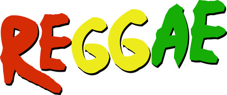 Reggae word with Rasta colors for music fans.