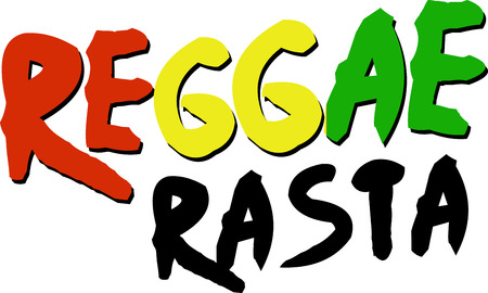 genre: Reggae word with Rasta colors for music fans.