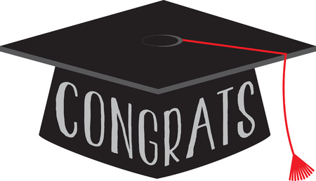 congratulate: Congratulate your dear one with this design embellished on their graduation gown or cap. Illustration