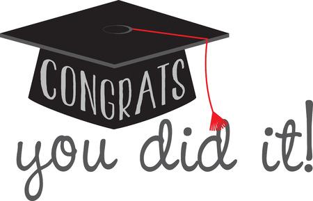 自分の卒業式のガウンや帽子の装飾デザインにあなたの愛するものを祝福します。  イラスト・ベクター素材