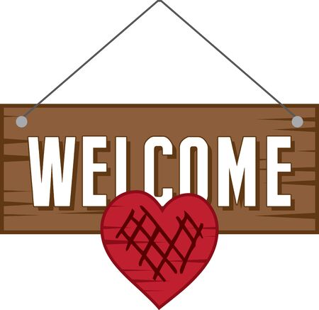 aplomb: Welcome your guests with aplomb! with this lovely sign board design on your furniture or kitchen clothing accessories. Illustration