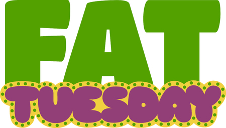 Celebrate Fat Tuesday, with this Tuesday text design on your next holiday  project. Illustration