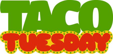 get ready: Preparatevi per occasioni Taco marted�, con questo disegno di testo Marted� su le copertine tavolo da pranzo. Vettoriali