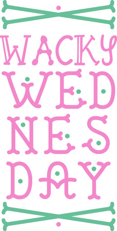 Use this Wednesday text design for your childs school backpack or tote bag.