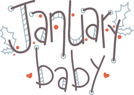 holly day: January brings the snow, makes our feet and fingers glow. So makes your outfits glow with this contemporary January text design. Illustration