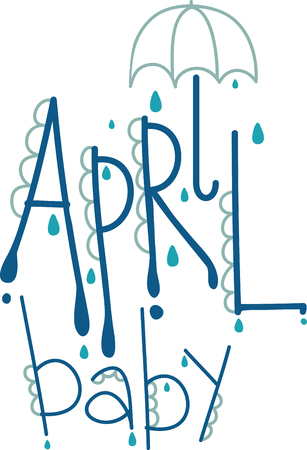umbrella month: April shower brings May flowers. Use this April text design for your kitchen towel or chef apron projects.