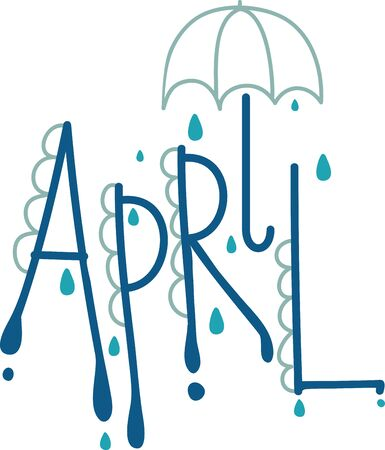 kitchen shower: April shower brings May flowers. Use this April text design for your kitchen towel or chef apron projects.