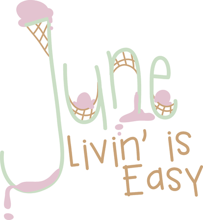 season: Every moment in June is a fresh beginning. So, welcome June with this June text design text design for your kitchen towel or chef apron projects.