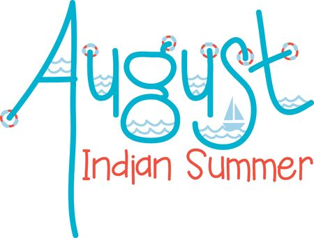 indian summer: Welcome the August presence with this aquatic text design for your holiday project.