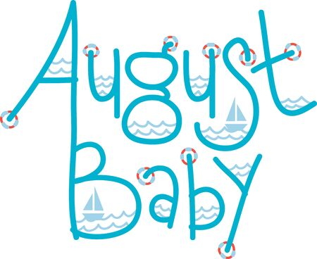 august: Welcome the August presence with this aquatic text design for your holiday project.