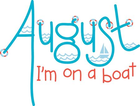 presence: Welcome the August presence with this aquatic text design for your holiday project.