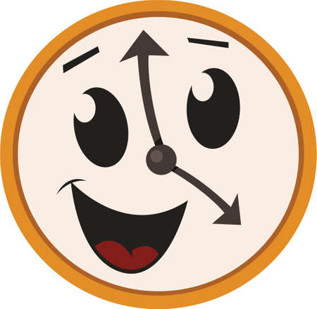 This Happy Clock design would look great on any of yours or kids clothing  fashion accessories.