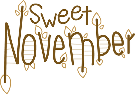 Fallen leaves lying on the grass in the November Sun bring more happiness than the Daffodils. This November text design would be a perfect foil to start off your Winter projects.