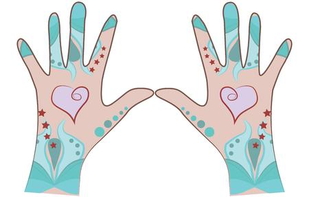 embellished: Girls  ladies would love this Hand Art design embellished on their fashion outfit  accessories. Illustration