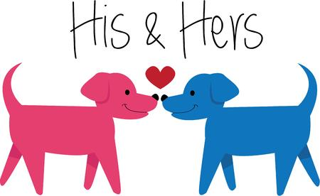 duo: Love canines then this design would be just perfect for decorate your home project. Illustration