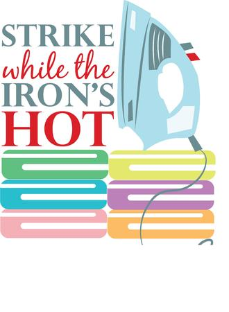 chores: Take solace in the ironing chores with this design, just perfect to be used on the ironing table cloth. Illustration