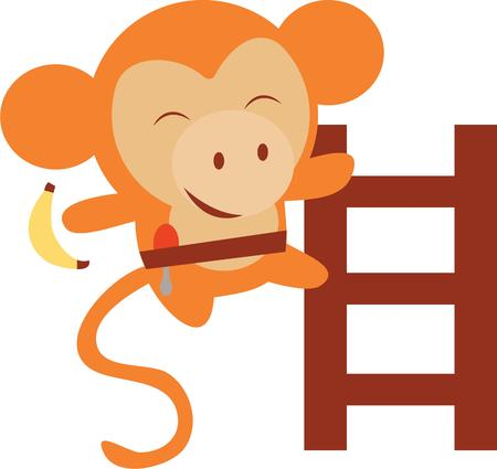 Este diseño lindo del mono se vería fabuloso en sus hijos mochila escolar, accesorios de ropa de moda. Foto de archivo - 42496921