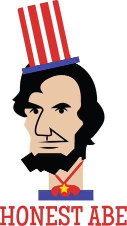 honest abe: Love Lincoln Then, this design is just perfect for embellishing on your clothing  accessories.