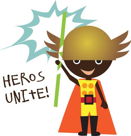 casual clothing: Kids will love this Little Hero design on a school backpack or their casual clothing. Illustration
