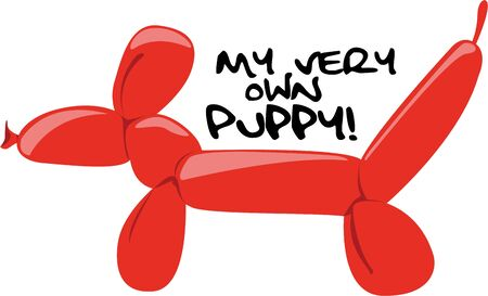embellish: Use this Balloon Doggy design to embellish your childs outfit  make it a perfect birthday gift. Illustration