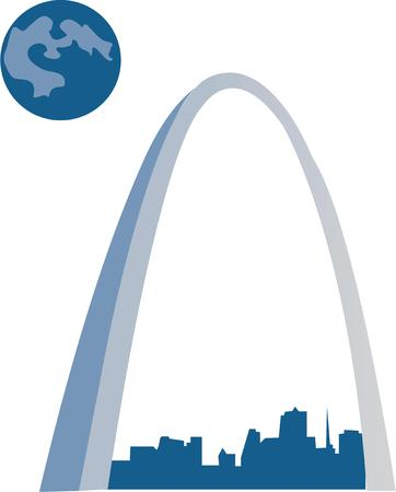 The Arch is beautiful to see and fun to go up in for a view of the city Illustration