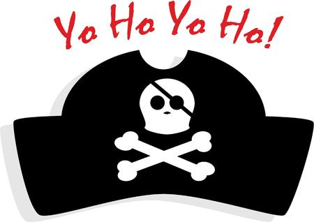 emboss: Be a pirate for a day! Emboss this creaky design on your party hat or clothing. Illustration