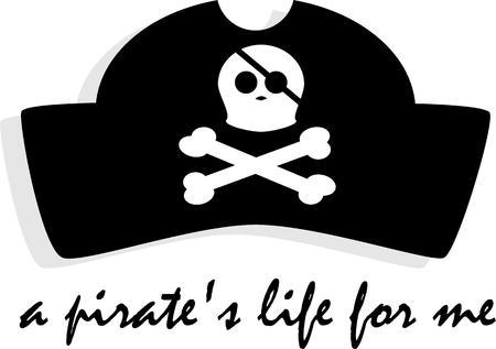 Wees een piraat voor een dag! Reliëf dit krakende ontwerp op uw feest hoed of kleding. Stock Illustratie
