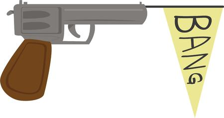 handgun: Kids would go bang bang on this design which would just be perfect on their backpack or clothing.