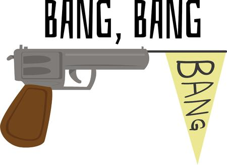 Kids would go bang bang on this design which would just be perfect on their backpack or clothing.