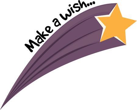 Doe een wens, terwijl een ster vallen om uw wens waar komt. Stock Illustratie