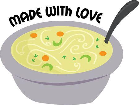 맛있는 건강 스프 1 잔으로 자신과 친구들을 대하십시오. 일러스트