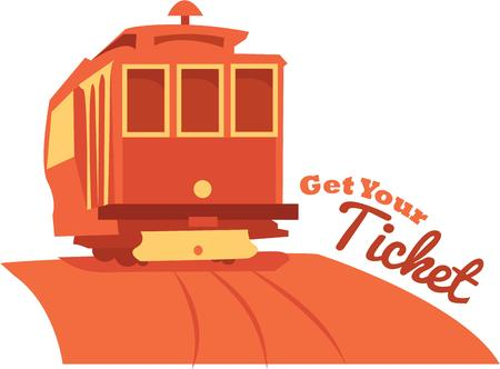enjoy the  traveling all aboard with this design by embroidery patterns Иллюстрация
