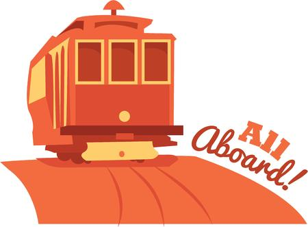 enjoy the  traveling all aboard with this design by embroidery patterns Illustration