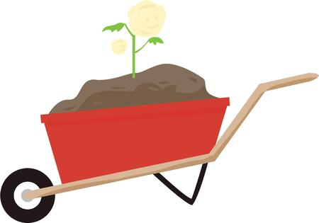 Wheelbarrow is a light vehicle for conveying small loads. 向量圖像