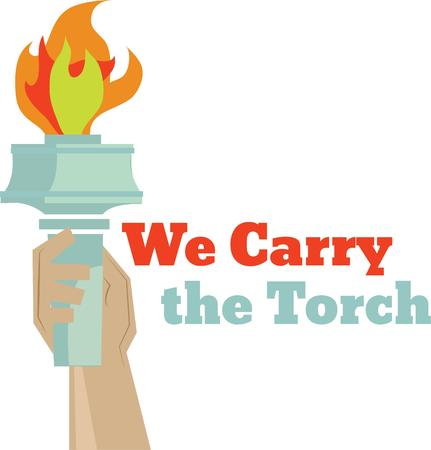 ceremonial: A person who carries a ceremonial torch like the desgin