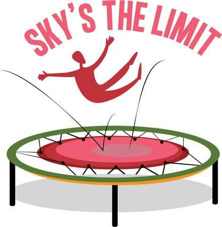 skys: A trampoline is a device consisting of a piece of taut, strong fabric Illustration