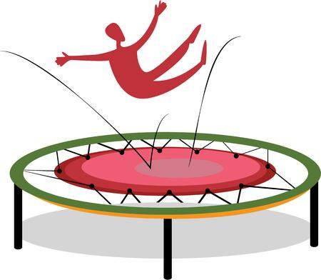 bounce: A trampoline is a device consisting of a piece of taut, strong fabric Illustration