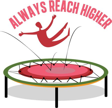 A trampoline is a device consisting of a piece of taut, strong fabric 向量圖像