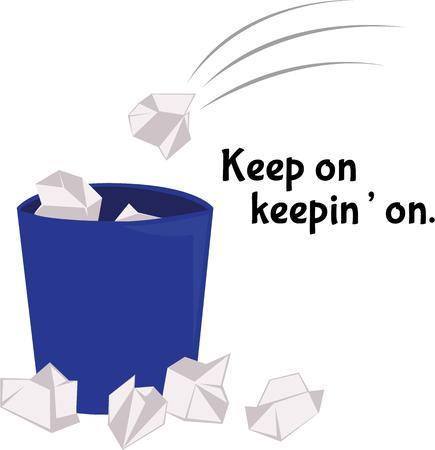 wastepaper basket: chuck la cosa direttamente nel cestino della carta straccia Vettoriali